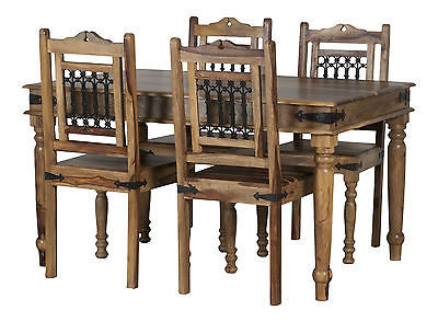 Enjoyable Jali Dining Table Set 4 Chairs In Solid Sheesham Rosewood Rrp 469 Andrewgaddart Wooden Chair Designs For Living Room Andrewgaddartcom