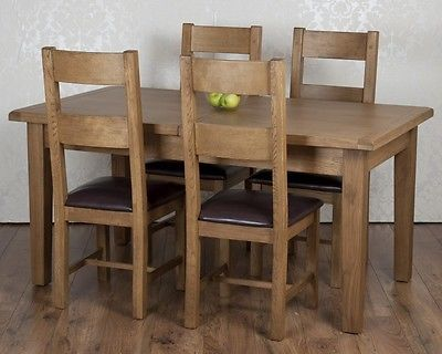Solid Chunky Rustic Oak Dorset Extending Dining Table 4 Chairs Rrp 1129
