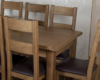 Solid Chunky Rustic Oak Dorset Extending Dining Table 8 Chairs Rrp 1 719