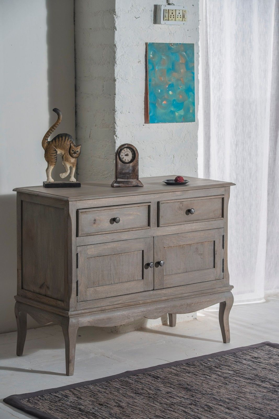 Bourdeilles 2 Door Sideboard Cupboard Cabinet Solid Shabby Chic In