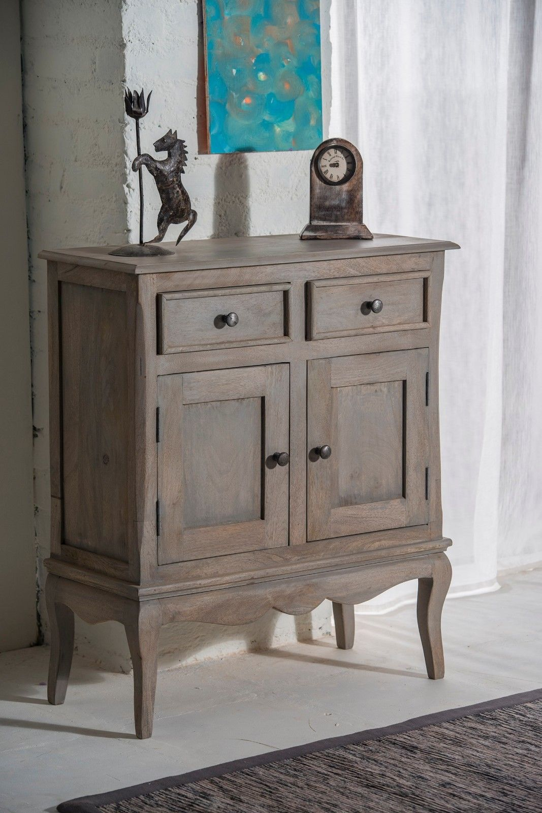 reputable site 4d7ac 21aae Bourdeilles Slim Sideboard Cupboard Hall Cabinet Solid Shabby Chic in Mango
