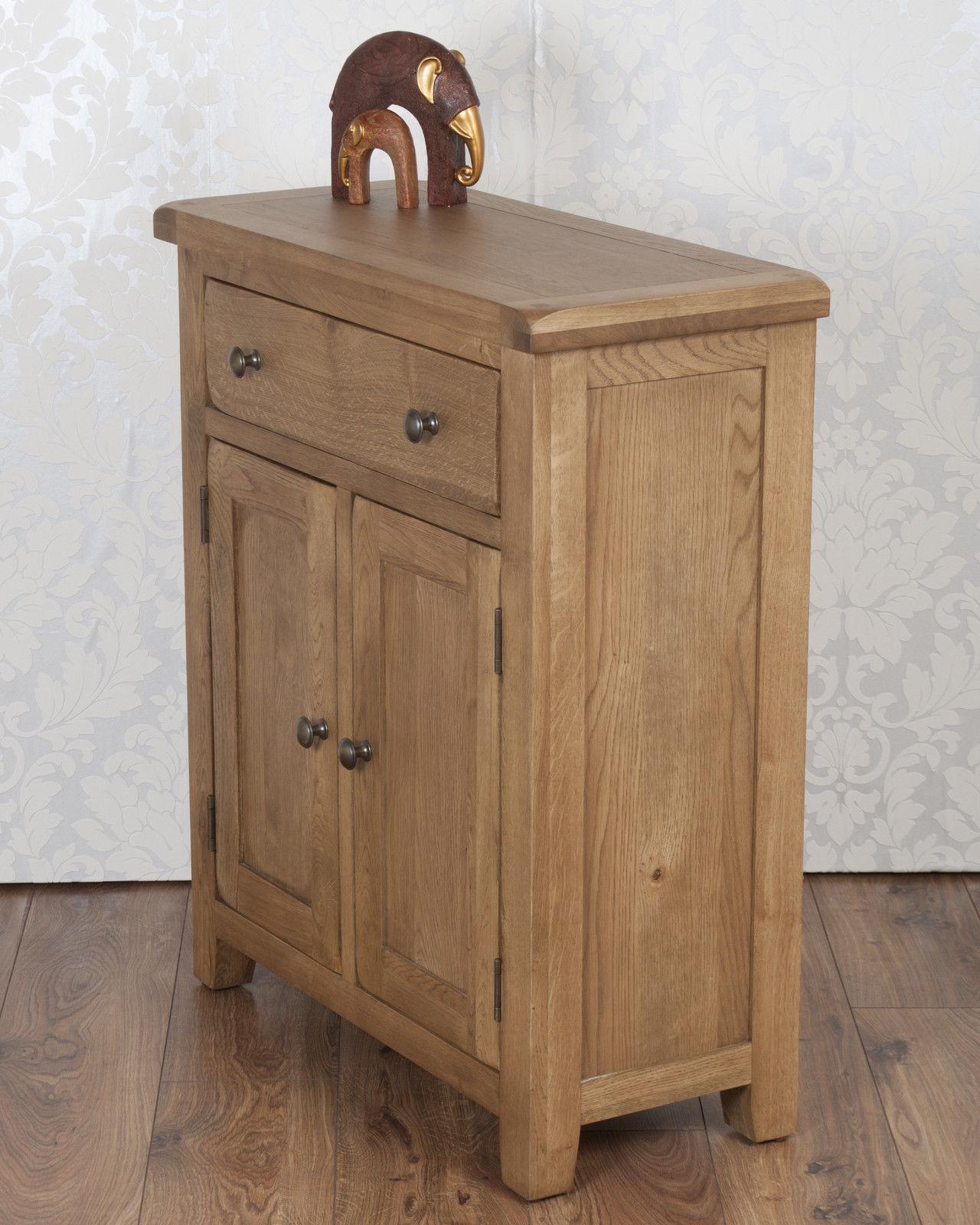Picture of: Solid Oak Slim 2 Door Sideboard Cabinet Cupboard In Chunky Dorset Country