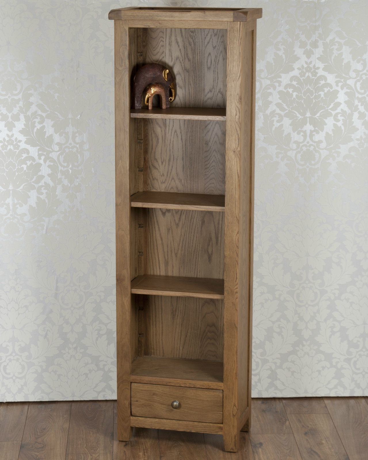 Solid Oak Display Cabinet Slim Bookcase Storage Unit In Chunky Dorset Country