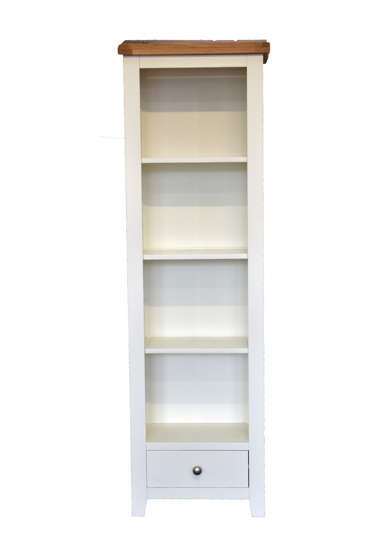 Harrogate White Slim Bookcase Display Unit Solid Oak And Pine With 3 Shelves